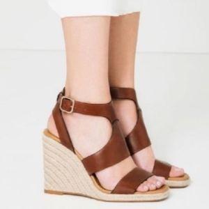 ZARA wedge espadrille sandals heels 39 8.5